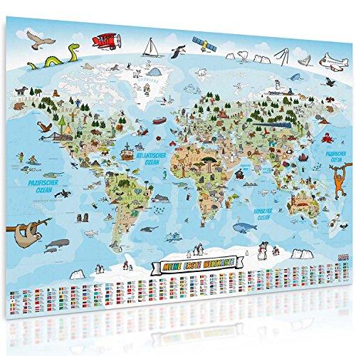 GOODS+GADGETS Panorama Weltkarte für Kinder XXL - 140x100cm Kinder-Weltkarte komplett handgezeichnet und koloriert