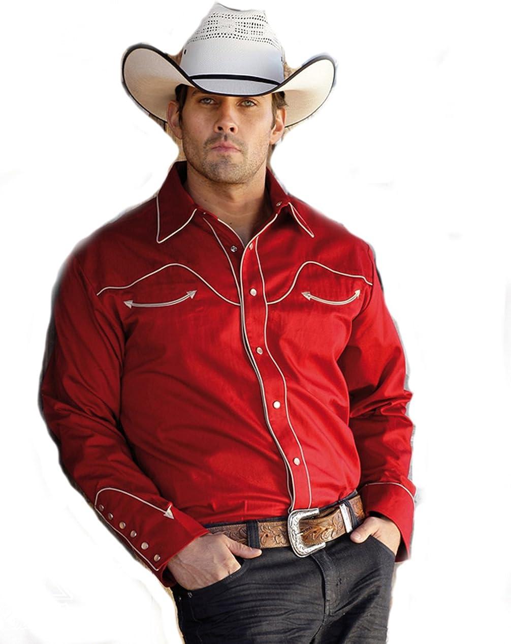 STARS & STRIPES Camisa roja Cowboy de loneta de algodón Jack