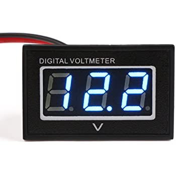 Amazon Com Drok Waterproof Led Digital Voltmeter 0 40 Dc 3 30v Voltage Meter Gauge Panel 12v 24v Volt Tester Power Monitor With 2 Wires Blue Digital Display Industrial Scientific