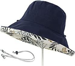 Aiyuda Women's Reversible Sun Hat Packable Wide Brim UV Protection Cotton Boonie Cap with Chin Strap for Beach Fishing Hiking Travel Camping Boating & Outdoor Adventures