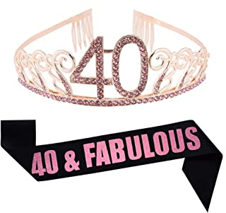 40th Birthday Pink Tiara and Sash, Glitter Satin Sash