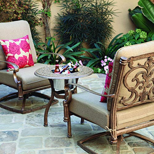 Darlee Santa Barbara 3 Piece Cast Aluminum Patio Conversation Seating Set - End Table with Ice Bucket Insert - Antique Bronze
