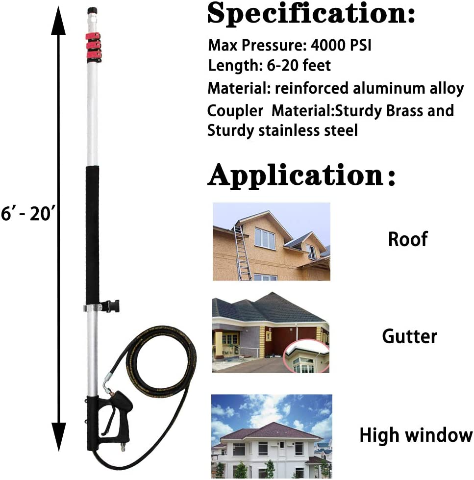 Suitable for Cleaning Work in High Places Like Windows and Wall 4000 PSI Commercial Grade Telescoping Pressure Washer Wand,6-18 ft Telescopic Spray Extension Wand