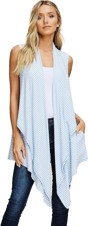 Annabelle Women's Sleeveless Cardigan Hi Low Open Front Stripe Cardigan Medium Blue-Ivory T1383