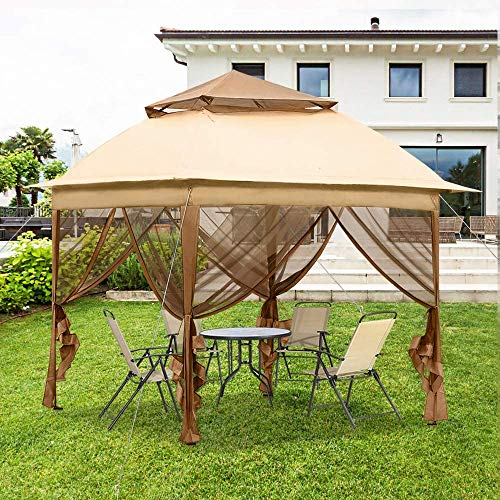 DNNAL Garten-Pavillon, 3x3m Faltbare Pavillon-Zelt Partyzelt Sonnenschutzzelt für Villa Hof Sonnenschein Verpflegung Grill Terrasse