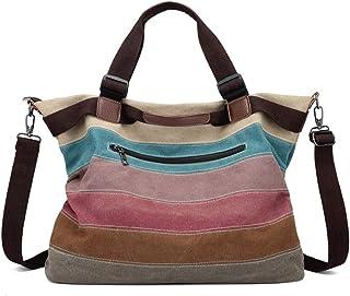 BJDTZ Canvas Tote Bag with Multiple Pocket,Zipper Closure Sholuder Bag,Travel Bag for Weekend Pocket,Perfect Bag for Gift
