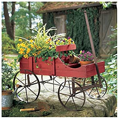 Unbranded* Garden Planter Wood Green Amish Wheeled Yard Decor Indoor Outdoor Flowers Wagon (COUNTRY RED)