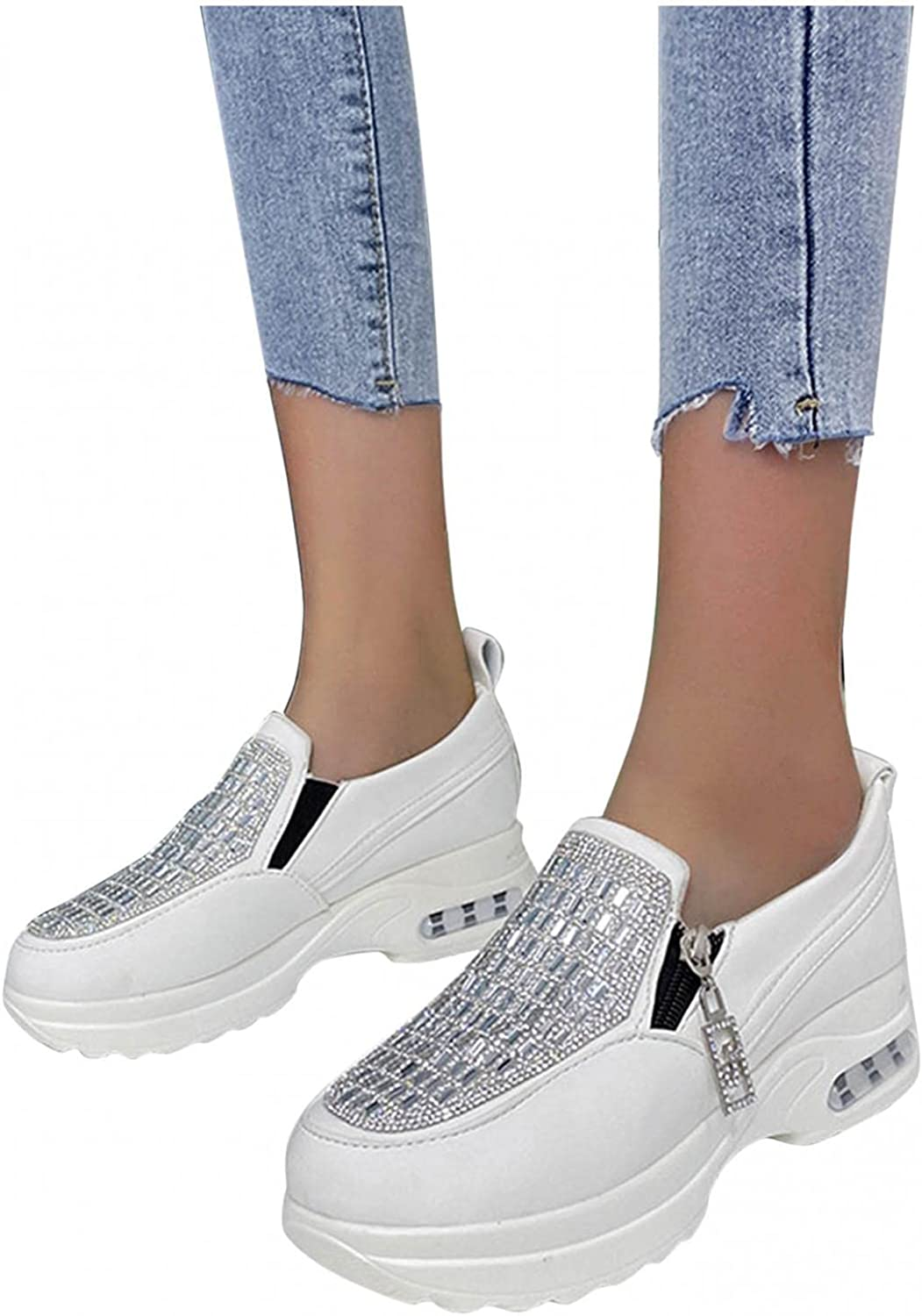 Hbeylia Fashion Sneakers For Women Glitter Rhinestones Platform Wedge Walking Shoes With Zipper Fashion Casual Comfortable Slip On Loafers Low Top Play Sneakers For Ladies Girls Work Daily Dress