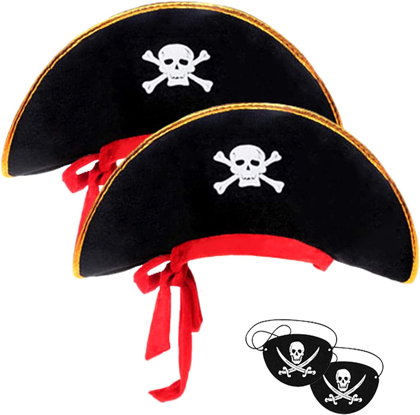 40% 2021new shipping free shipping OFF Cheap Sale 2pieces Skull Print Pirate Pira Captain Caribbean Hat
