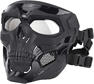 ATAIRSOFT Tactical Protective Adjustable Skull Full Face Mask for Airsoft Paintball Cosplay Costume Party Hockey