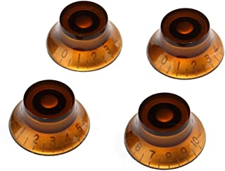 Musiclily Metric Plastic Top Hat Bell Style Guitar Control Knobs for Electric Guitar, Amber(Pack of 4)