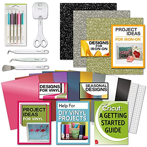 Cricut Beginner Bundle- Glitter Iron On HTV, Vinyl Sheets, Tool Kit, Pens, eBook