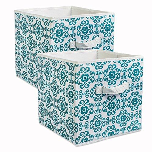 DII Cajas de Almacenamiento de Tela para guardería, oficinas, y organización del hogar, Desplaza, Verde Azulado, 13' Large - Set of 2, 1, 1