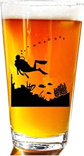 Scuba Diver Pint Glass - Novelty Beer Pint Glass Set - Large 16 oz Beer Glasses Perfect Present Gift For Friends Men Or Women Large Beer Pints Glasses - Great Christmas Gifts For Divers Diving Friends