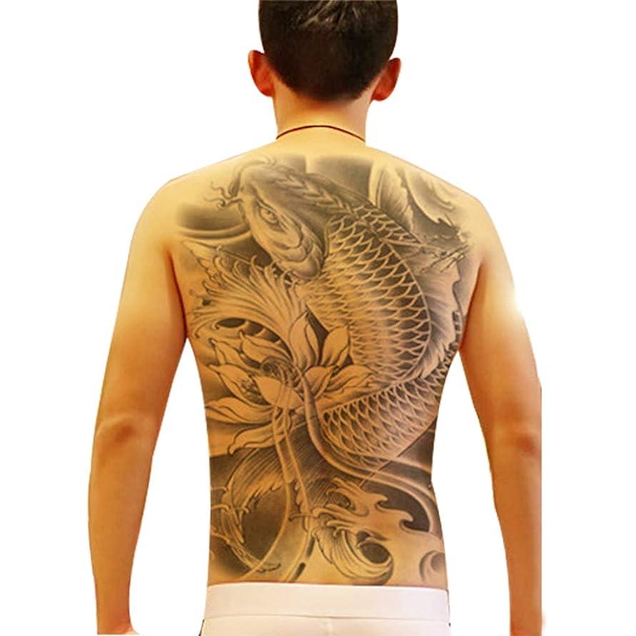 ビッグサイズの魚の仏像のフルバック胸のタトゥーステッカー一時的な防水大型フェイクタトゥ
