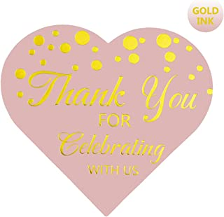 Heart Label Stickers, Blush Pink Gold Foil Stickers for Wedding Favors,Thank You for Celebrating with Us Stickers, 75-Pack (Gold Foil(Pink))
