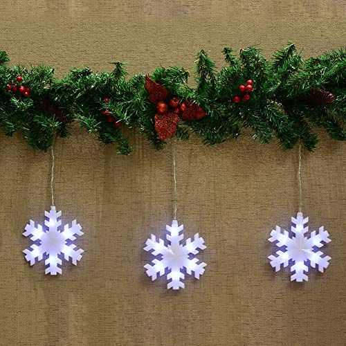 Abba Patio Snowflake String 59 inch x 11 inch 36 LEDs Battery Powered Lights Timer Function, White