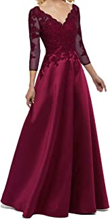 Elegant Plus Size Lace Satin V-Neck 3/4 Sleeve Mother of The Bride Dress Long Evening Gown
