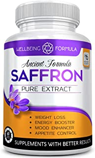 Pure Saffron Extract for Healthy Weight Loss-Natural Appetite Suppression Pills-Mood Booster Anti-Anxiety Saffron Supplement for Depression-Hunger Suppressant for Women and Men-Saffron Capsules