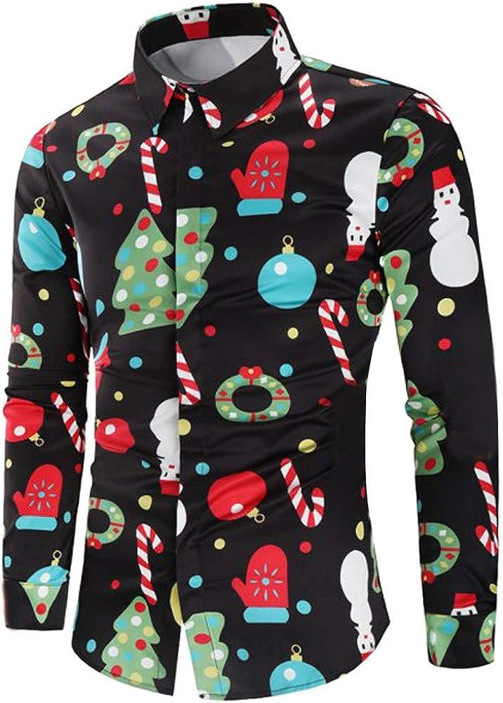 F_Gotal Mens Christmas Shirts Long Sleeve Slim Fit Printed Shirt Casual Button Down Dress Shirts Pullover Sweatshirts