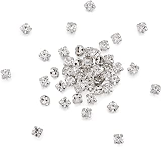 Pandahall 100pcs Sew On Montee Chaton Beads Five-holes Silver Color Acrylic Rhinestone Crystal Beads with Brass Findings Clothing DIY Embellishment 6mm