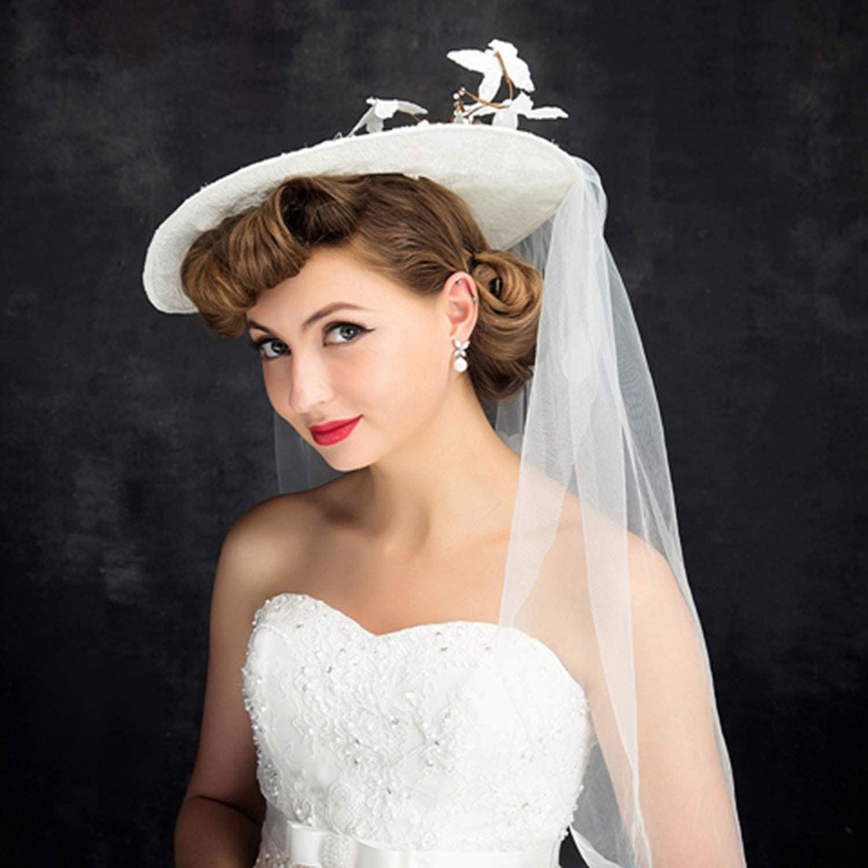Mesh Fascinator Top Hat Lady, Dome Flower Lace Wedding Headwear, Summer England Mesh Sunshade Bridal Hat, Ivory White