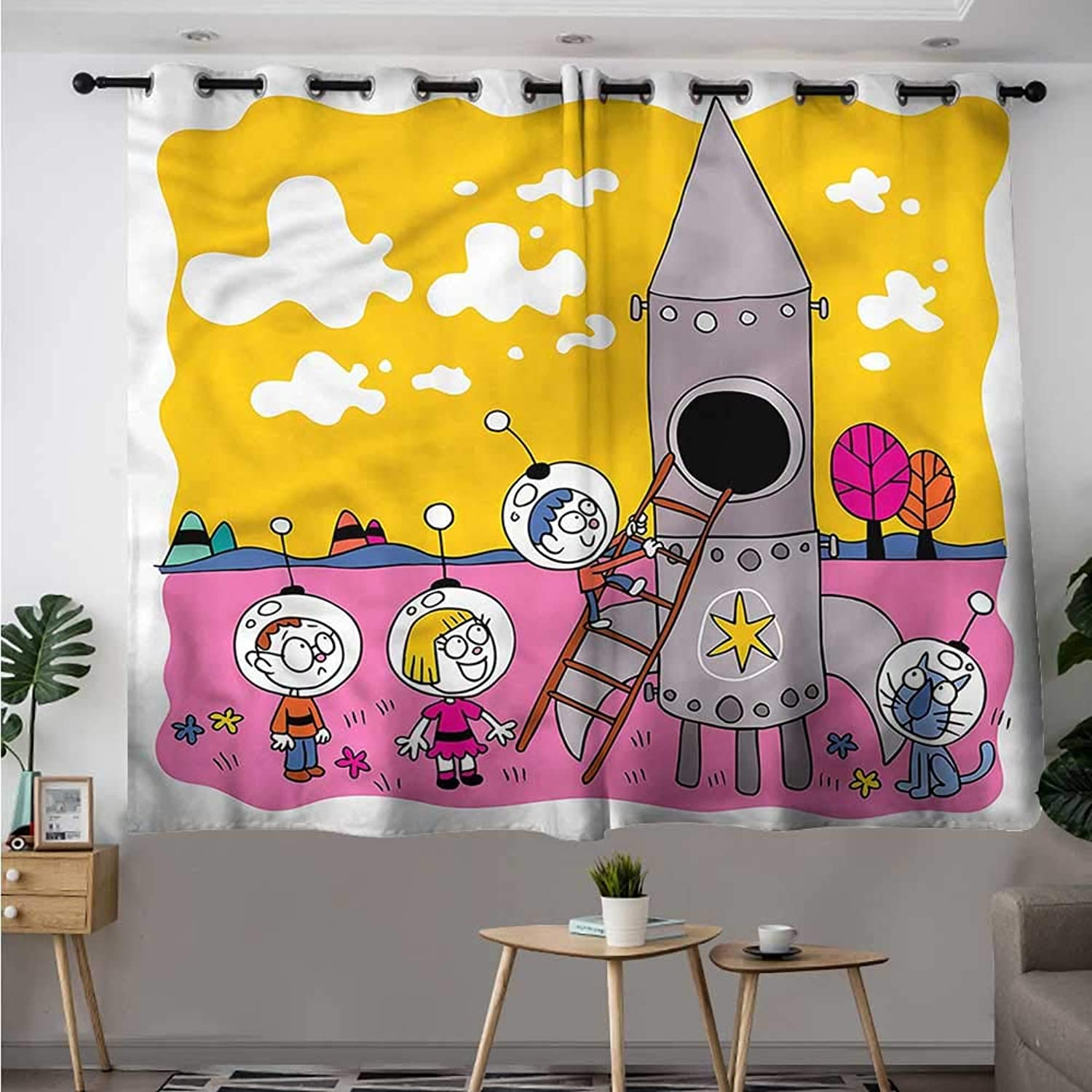 Fbdace Cartoon Thermal Insulated Blackout Curtains Astronaut Kids with Rocket Room Darkening, Noise Reducing W 63  XL 45