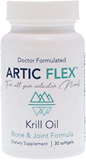 """Artic Flex Neptune Krill Oil, Doctor Formulated Bone and Joint Supplement - Sustainable, """"Friend of The Sea"""" Certified, No Aftertaste, 30 Softgel Capsules (1 Month Supply)"""