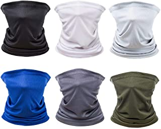 [6 Pack] Unisex Sun UV Protection Face Bandana, Reusable Motorcycle Half Mask Scarf Neck Gaiter Balaclava for Men Women