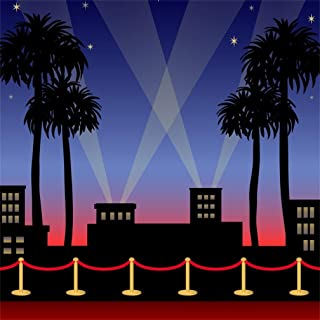 AOFOTO 5x5ft Red Carpet Backdrop Movie Night Stage Fence Photography Background Award Ceremony Celebrity Event Party Premiere Banner Photo Studio Props Spotlight Hollywood Activity Decor Wallpaper
