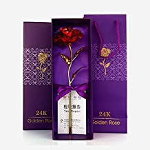 Furnish Marts 24K Gold Plated Red Rose 10 Inch with Gift Box & Bag - Best Gift for Loved One, Special for Valentine Day, Father Day, Anniversary & Birthday Gift