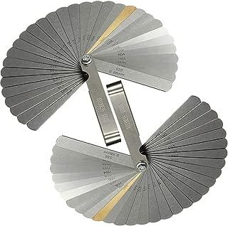 VTurboWay 2 Pack 32 Blades Steel Feeler Gauge, Dual Marked Metric and Imperial Gap Measuring Tool, Teaching Feeler