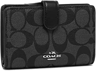 Coach Signature PVC Corner Zip Wallet Black F23553