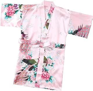 Toddler Baby Kid Floral Silk Satin Kimono Robes Bathrobe Sleepwear Clothes for Girls Boys