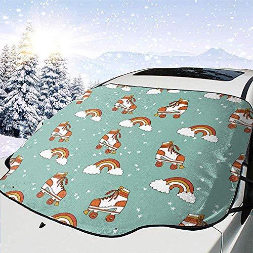 C-WANG Rollschuh Retro Regenbogen Windschutzscheibe Schneedecke Magnetische große Autoplanen mit Materialschutz - Passend für jedes Auto