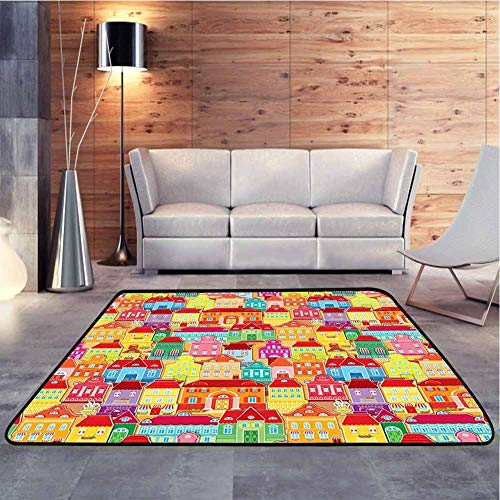 Home Decor Rug European Architecture Art Houses with Pillars and Fountains Ultra Soft Indoor Modern Area Rugs Decorative Floor and Best Gift for Children, 3 x 5 Feet