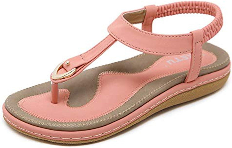 Women's Elastic T-Strap Ankle Buckles Flat Walking Sandals Flip Flops Retro Slip On Exquisite Slippers
