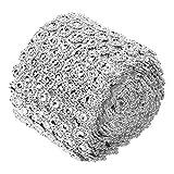 Cinta de diamantes de imitación, rollo de envoltura de malla de diamante de flor plateada para decoraciones de fiesta de boda, proyectos de manualidades