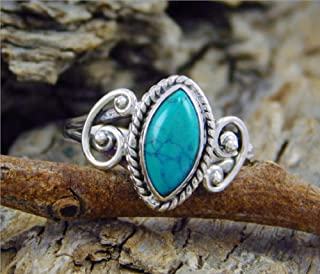 Duan Antique Cut Turquoise Finger Ring Women Men Oval Turquoise Carved Finger Ring Turquoise Moonstone Ring Wedding Jewelr...