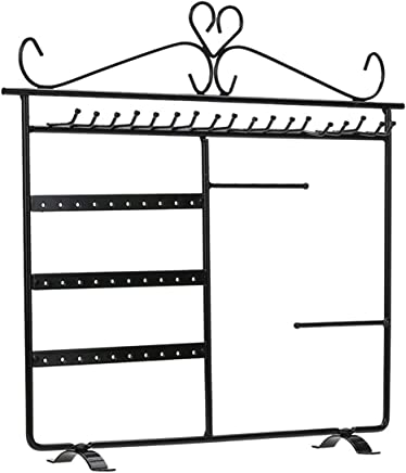 Shadow Securitronics Heavy Duty Metal Hanging Jewellery Holder Display Stand Organizer with 3 Tier 19 Hooks and 30 Holes for Earrings Necklace L-27,H-22 cm
