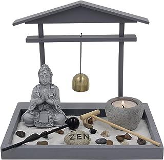 DharmaObjects Buddha Zen Garden Tea Light Candle Holder Set (Gray Bell Buddha)