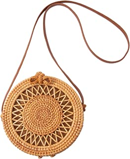 Rattan Bags For Women Handwoven Round Crossbody Bags For Women Bali Rattan Bag With Genuine Leather Strap