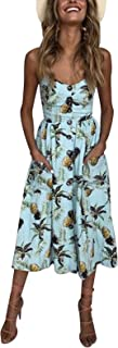 Women's Dress Summer Spaghetti Strap Sundress Casual Floral Midi Backless Button Up Swing Dresses with Pockets S-3XL