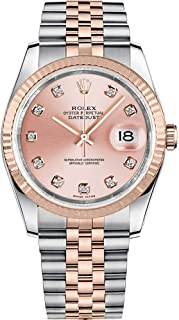 Rolex Datejust Pink Diamond Dial Fluted 18kt Rose Gold Bezel Jubilee Bracelet Mens Watch 116231PDJ
