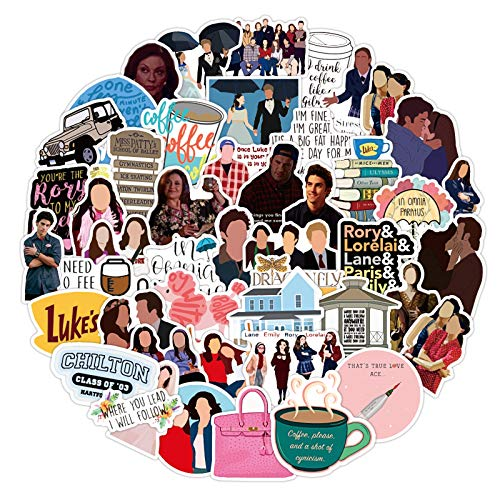 Gilmore Girls Stickers 50pcs Vinyl Water Comedy TV Show Decal for Laptop Skateboard Bumper Cars Computers Cool Teens Adults Decorations