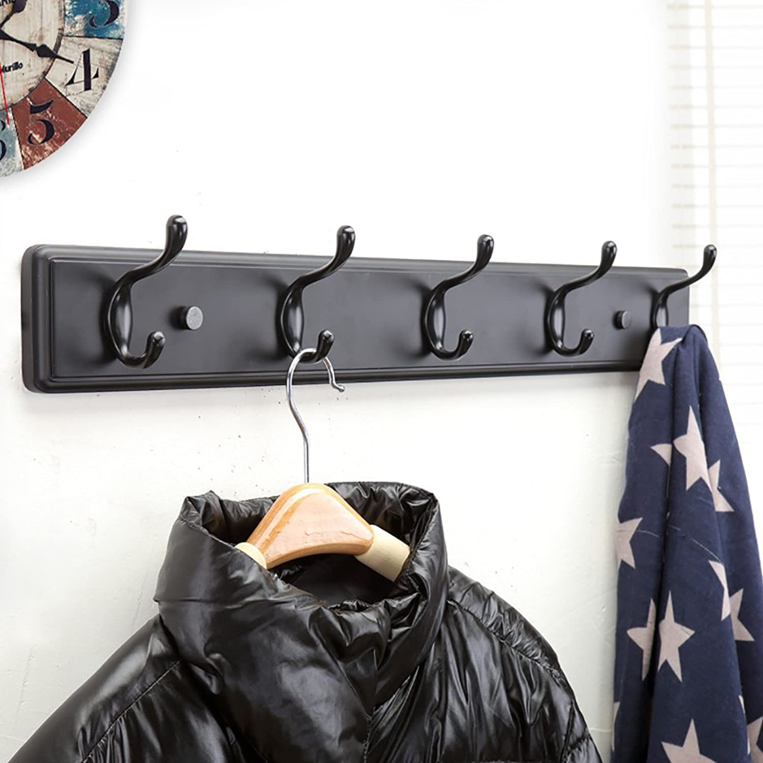 Coat Rack Creative Wall Coat Rack, Door Hangers, Wall Hanging Black Coat Hook, Wall Solid Wood Clothes Hook (Size   61cm)