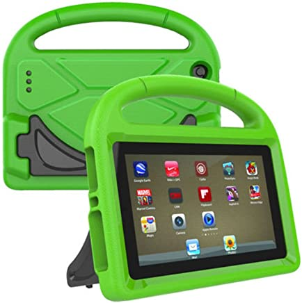LEDMOMO Fire 7 2017 Kids Case, Handle Stand EVA Protective Cover Shock Proof Case for Amazon Kindle Fire 7 Tablet (Green)