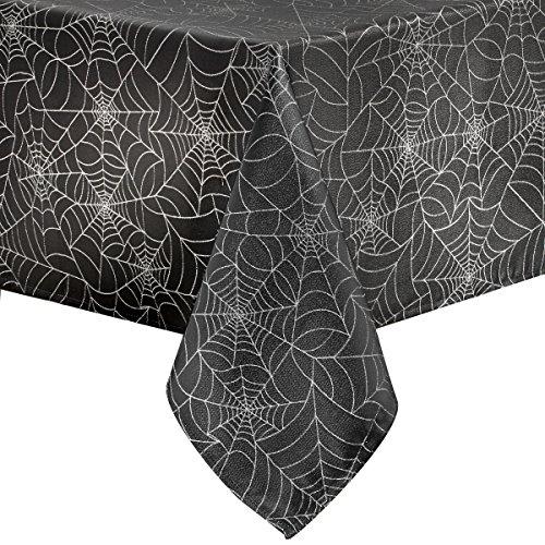 Benson Mills Twinkle Halloween Spider Web Fabric Metallic Tablecloth (Black, 60