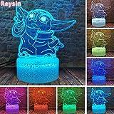LSDAMN Lámpara de ilusión 3D Luz de noche LED Baby Yoda The Cute Mandalorian 7 colores que cambian la decoración del hogar para niños Regalos de Navidad para niños