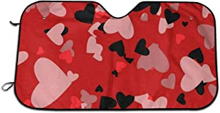 Perfectly Customized Valentines Day Colorful Heart Love Summer Car Windshield Sunshade, Front Auto Car Windshield Sun Shade Folding Silvering Sun Visor - UV Coating for UV Ray Deflector 51